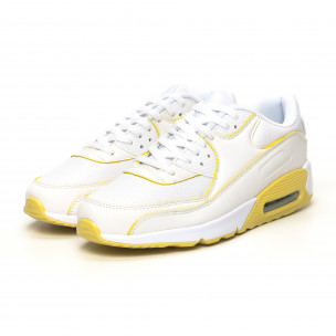 Дамски маратонки с въздушна камера бяло и жълто 2