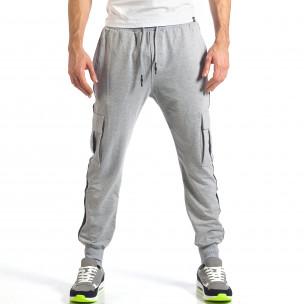 Мъжко сиво долнище с карго джобове 2