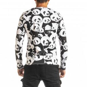 Мъжка черно-бяла блуза Panda 2