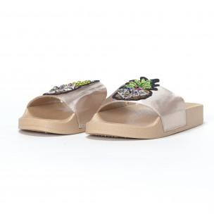 Бежови дамски чехли с ананас  2