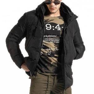 Мъжко черно пухено яке с качулка  2