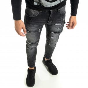 Намачкани черни дънки с прокъсвания и кръпки