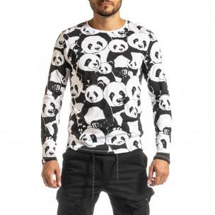 Мъжка черно-бяла блуза Panda
