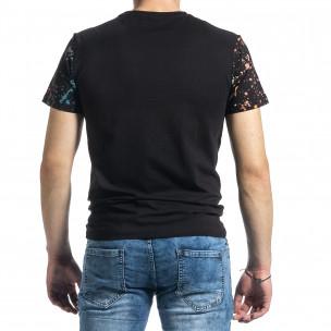 Мъжка черна тениска с принт и кристали  2