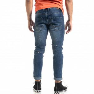 Мъжки сини дънки White Orange Paint   2