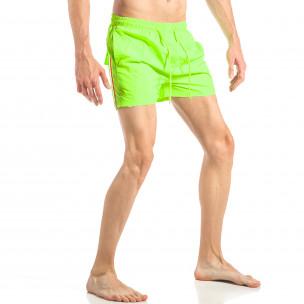 Мъжки неонов зелен бански с трицветна лента  2