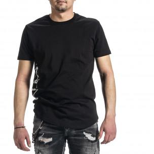 Мъжка черна тениска страничен принт  2