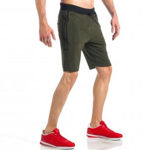 Зелени мъжки шорти с ципове на крачолите  2