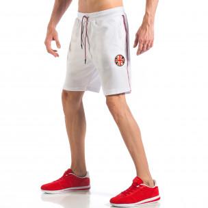 Мъжки бели шорти с апликация Британското знаме