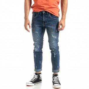Мъжки сини дънки White Orange Paint  Andrea Falco