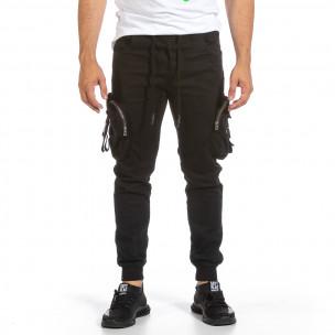 Черен карго панталон с трикотажен колан и маншети Yes Design