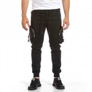 Черен карго панталон с трикотажен колан и маншети