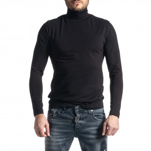 Памучно черно поло от стегнато трико