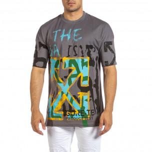 Oversize сива тениска с колоритен принт