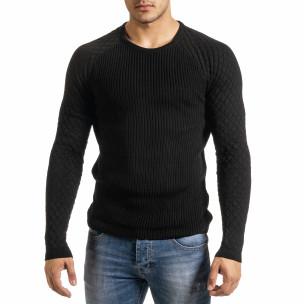 Мъжки пуловер с реглан ръкав на ромбове  2