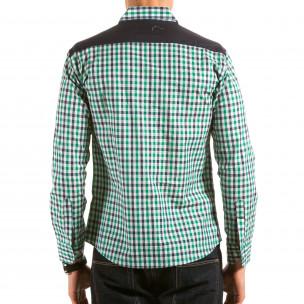 Мъжка зелено-синьо-бяла карирана риза  2