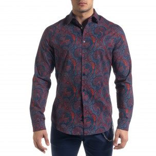 Slim fit мъжка риза жакардов десен Open