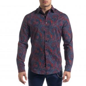 Slim fit мъжка риза жакардов десен