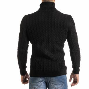 Мъжки черен пуловер с поло яка и плетеници  2