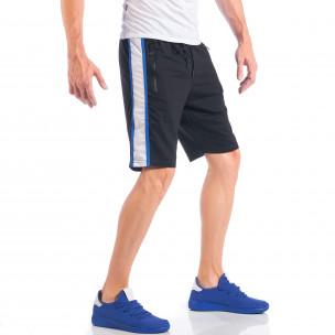 Черни мъжки шорти с контрастни ивици и ципове на джобовете  2