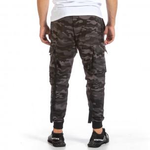 Мъжко Hip Hop долнище сиво-черен камуфлаж Adrexx 2