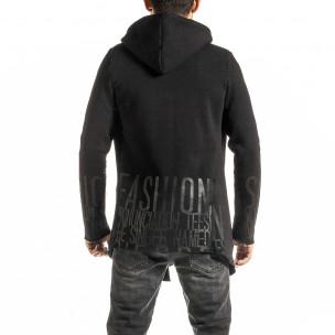 Ватирана черна жилетка с качулка 2