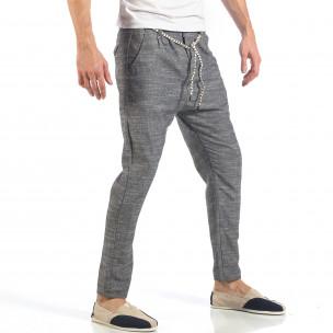 Мъжки сиви леки панталони с колан шнур  2