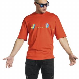 Мъжка червена тениска Dinosaur Oversize