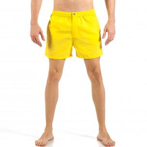 Мъжки жълт бански с цип и копче
