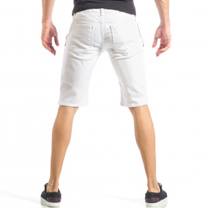Бели мъжки къси дънки с черен цип и пръски  2