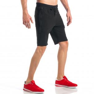 Черни мъжки шорти с ципове на крачолите  2