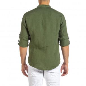 Мъжка зелена ленена риза с яка столче 2