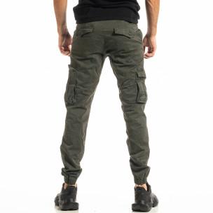 Мъжки зелен карго панталон с ластик на крачолите  2