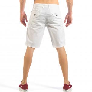 Мъжки бели къси панталони с италиански джобове  2