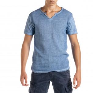 Мъжка тениска от памук и лен цвят деним