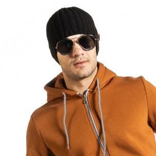 Черна мъжка шапка ластична плетка