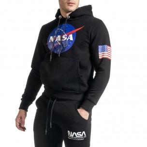 Плътен мъжки суичър NASA в черно