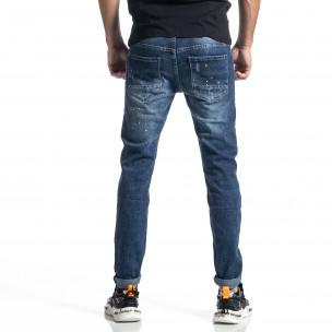 Мъжки сини дънки Destroyed Paint Slim fit  2