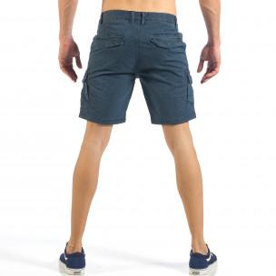 Мъжки къси карго панталони в синьо с дребен принт  2