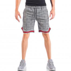 Мъжки шорти на бяло-черно каре с двуцветни маншети  2