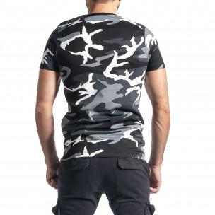 Мъжка тениска сив камуфлаж с принт 2