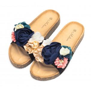 Черни дамски чехли с флорален дизайн 2