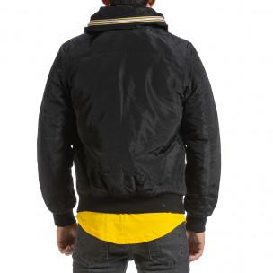 Мъжко черно яке с прибираща се качулка  2