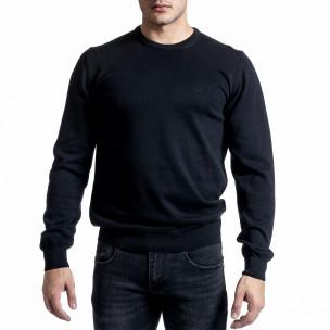 Фин памучен мъжки черен пуловер