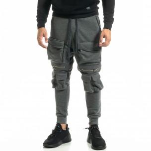 Мъжки трикотажен карго панталон в сиво 2