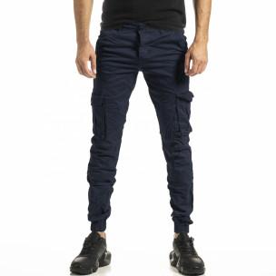 Мъжки син карго панталон с ластик на крачолите