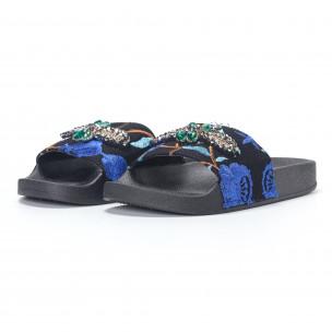 Дамски сини чехли с бродерии и камъни 2