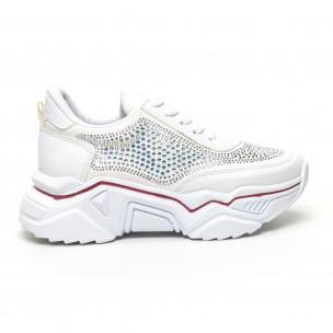 Дамски бели маратонки с камъчета