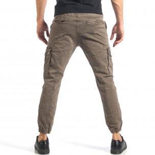 Мъжки зелен карго панталон с ленти отстрани  2