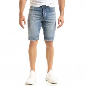 Мъжки сини къси дънки избелял ефект